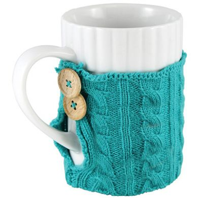 Coffee Mug With Teal Sweater Cozy Knitted